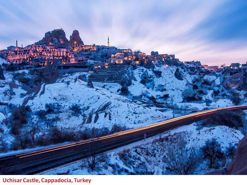 Uchisar Castle in Cappadocia, Anatolia