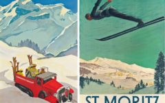Alex Diggelmann's Gstaad poster celebrates 1930s high tech in the stylish Swiss resort of Gstaad; St Moritz is one of the earliest homes of modern winter sports, attracting British university students from the 19th century