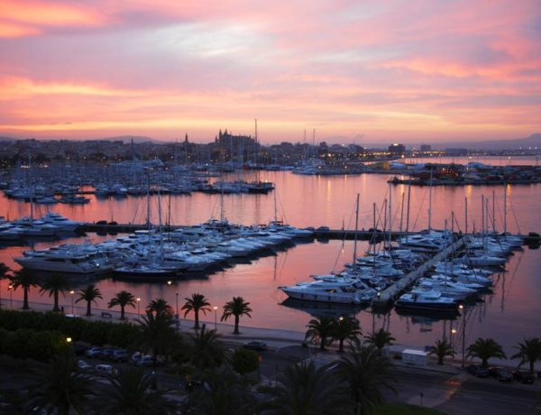Yachts at sunrise docked in harbour at Palma de Mallorca