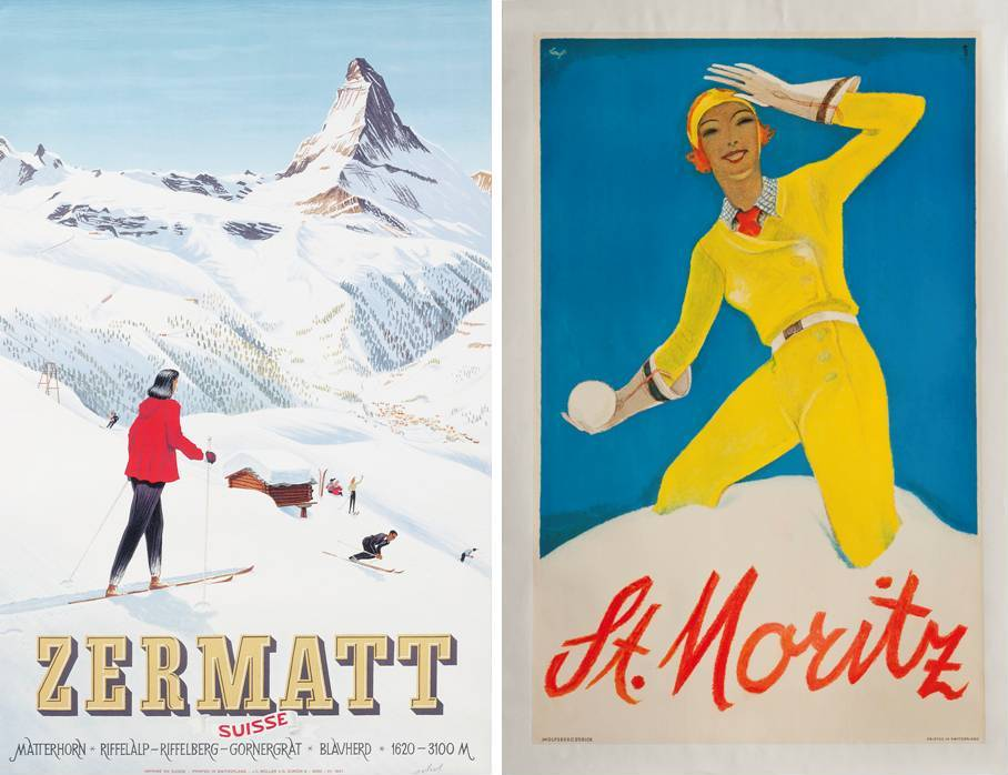 "Ski Poster Sale at Christie's, London - ""Zermatt"" and ""St. Moritz"""""