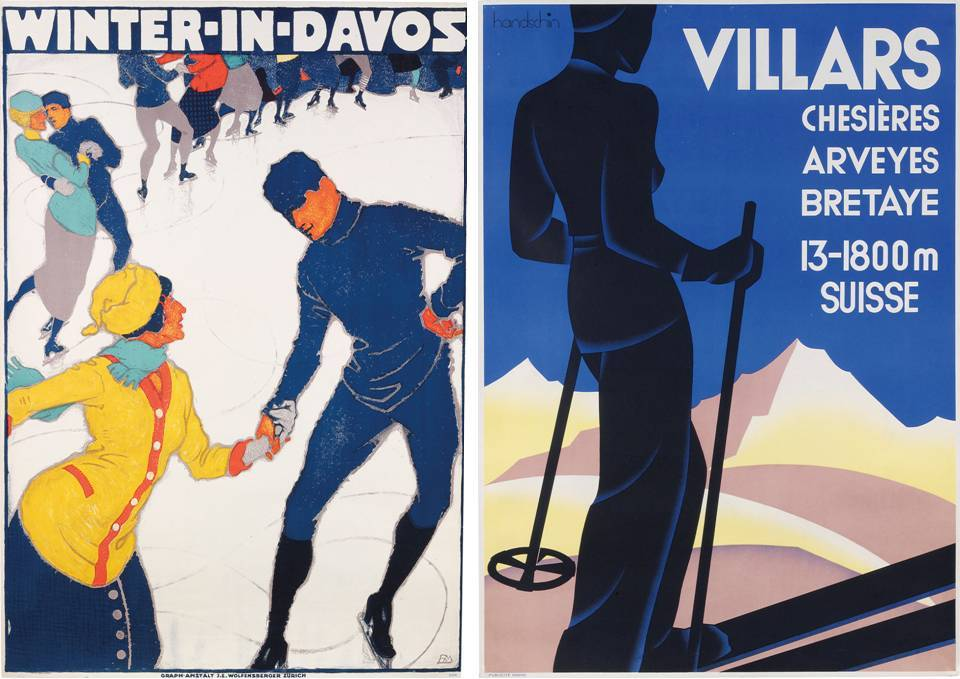 "Ski Poster Sale at Christie's, London - ""Winter in Davos"" and ""Villars"""