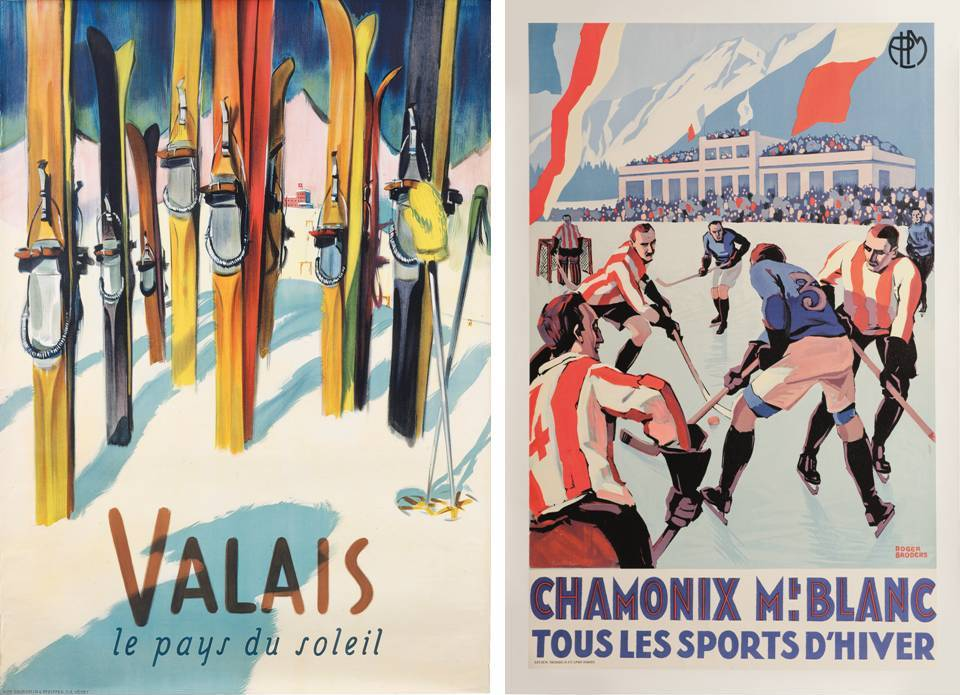 "Ski Poster Sale at Christie's, London - ""Valais"" and ""Chamonix Mt. Blanc"""