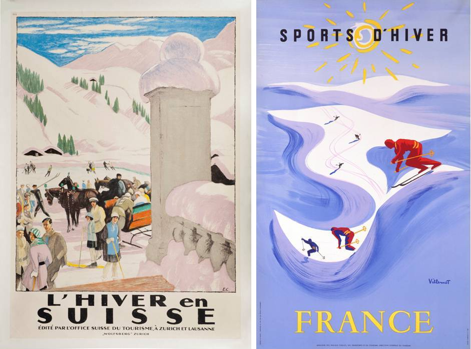 "Ski Poster Sale at Christie's, London - ""Valais"" and ""Chamonix Mt. Blanc""Ski Poster Sale at Christie's, London - ""L'Hiver en Suisse"" and ""Sports D'Hiver"""