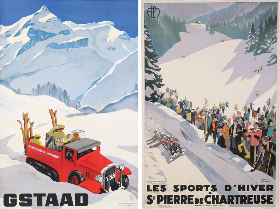 "Ski Poster Sale at Christie's, London - ""Valais"" and ""Chamonix Mt. Blanc""Ski Poster Sale at Christie's, London - ""Gstaad"" and ""Les Sports d'hiver. St. Pierre de Chartreuse"""
