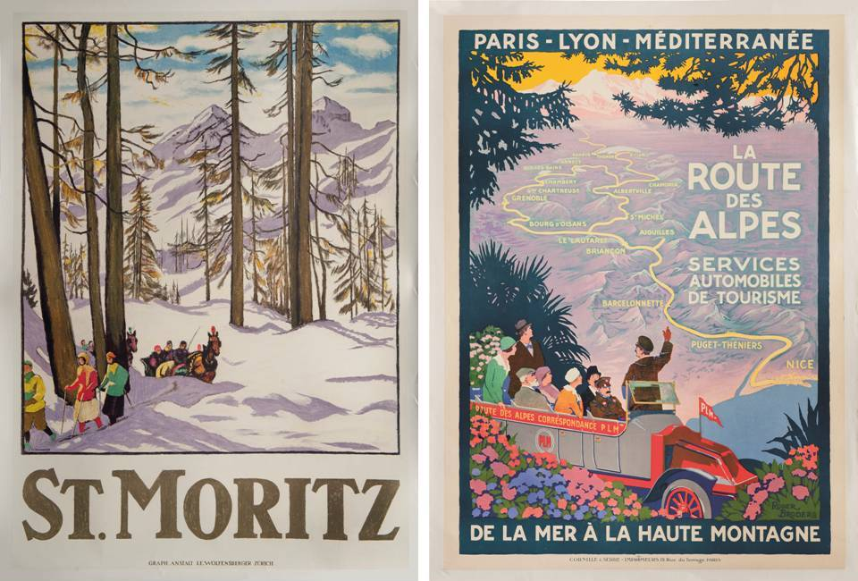"Ski Poster Sale at Christie's, London - ""Valais"" and ""Chamonix Mt. Blanc""Ski Poster Sale at Christie's, London - ""St. Moritz"" and ""La Route des Alpes"""