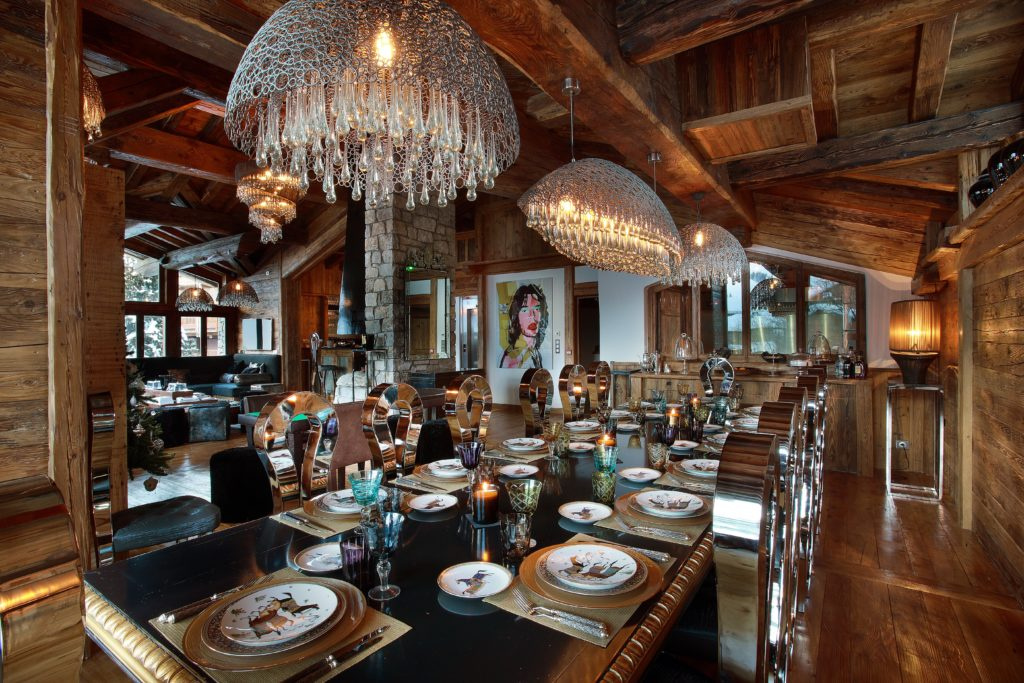 Dining table of luxury ski chalet Marco Polo, Val d'Isere, French Alps