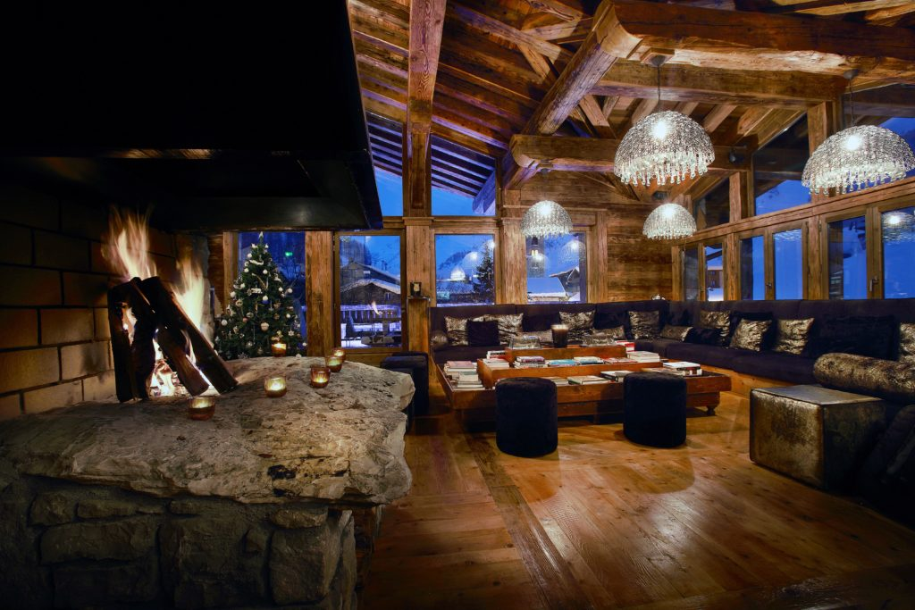 Lounge or living area of luxury ski chalet Marco Polo, Val d'Isere, French Alps