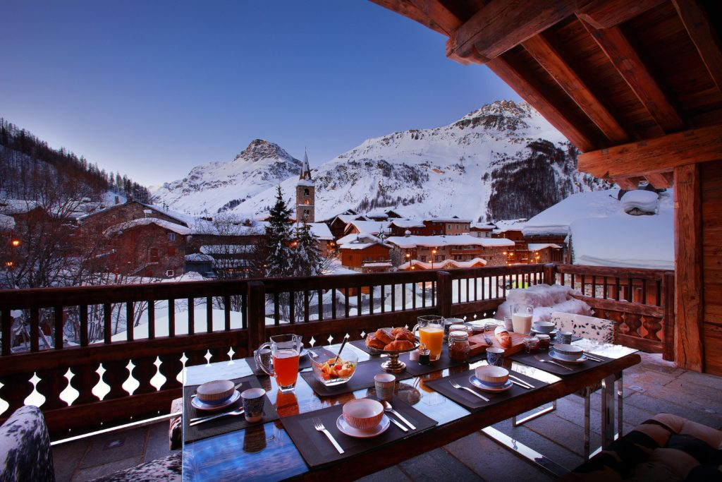 View from one of the balconies of luxury ski chalet Marco Polo, Val d'Isere, French Alps