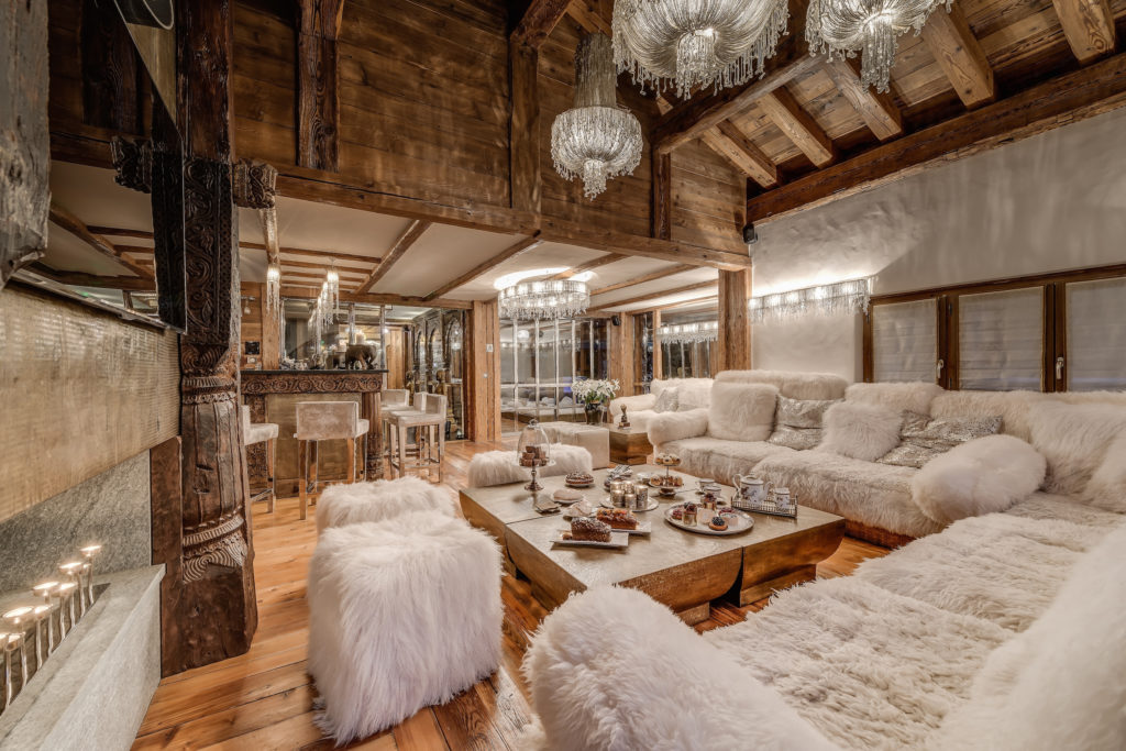 The second bar, downstairs, of luxury ski chalet Marco Polo, Val d'Isere, French Alps