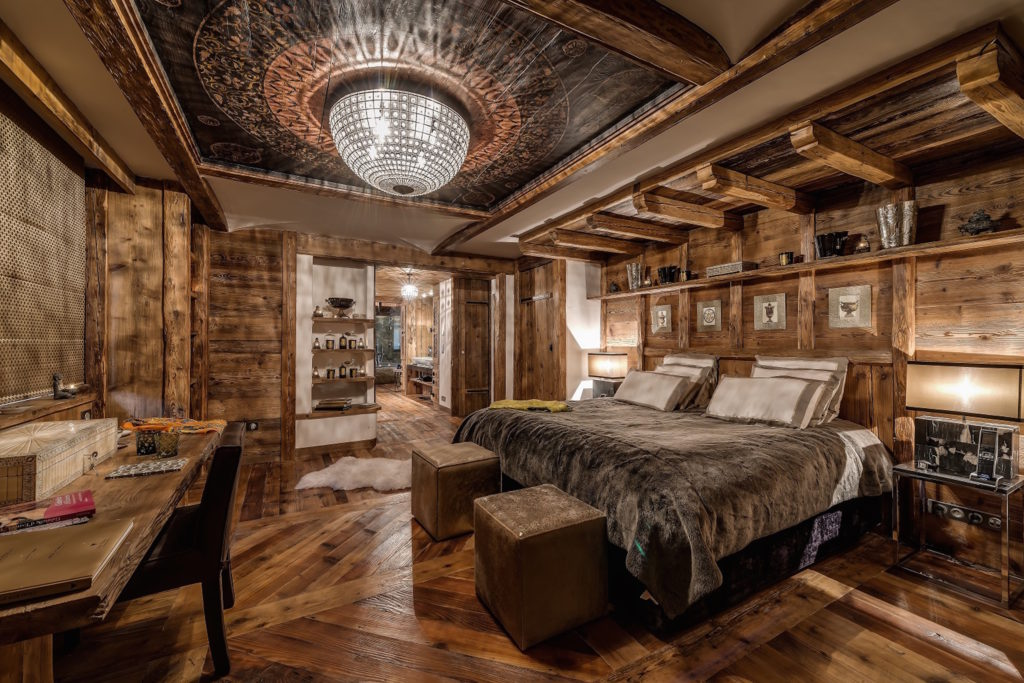 Master bedroom of luxury ski chalet Marco Polo, Val d'Isere, French Alps