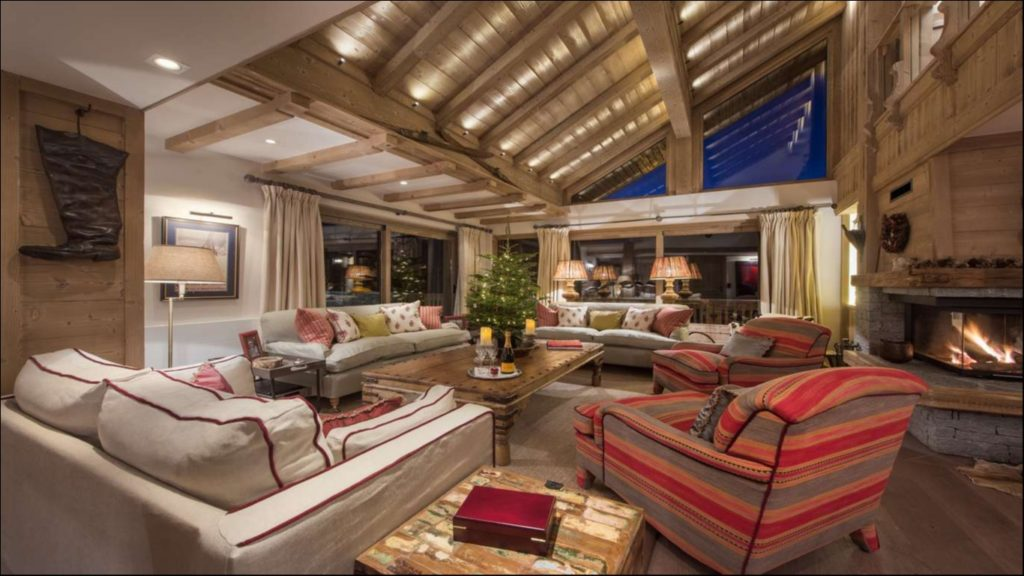 Living room with fireplace, Chalet Valentine