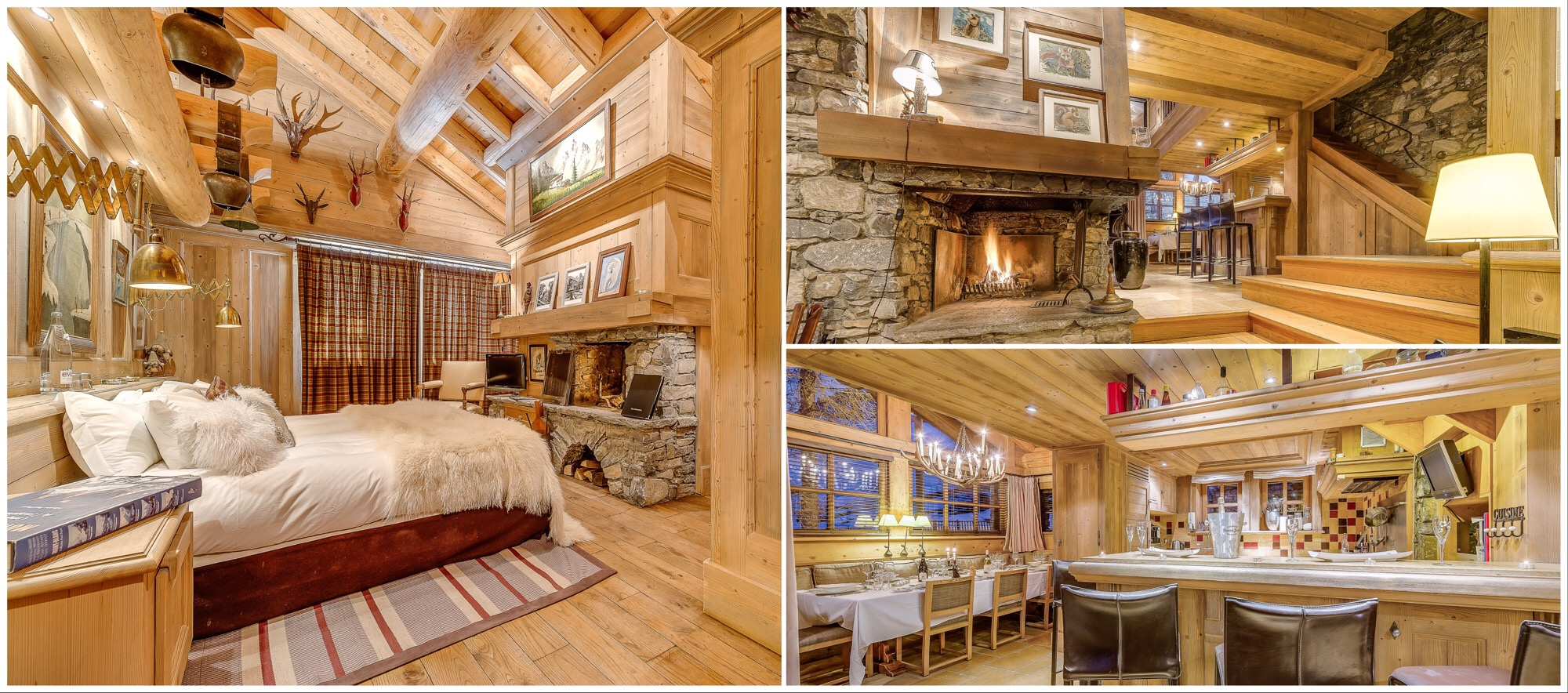 Ski chalet Montana, Val d'Isère - master bedroom, fireplace, bar and dinner setting