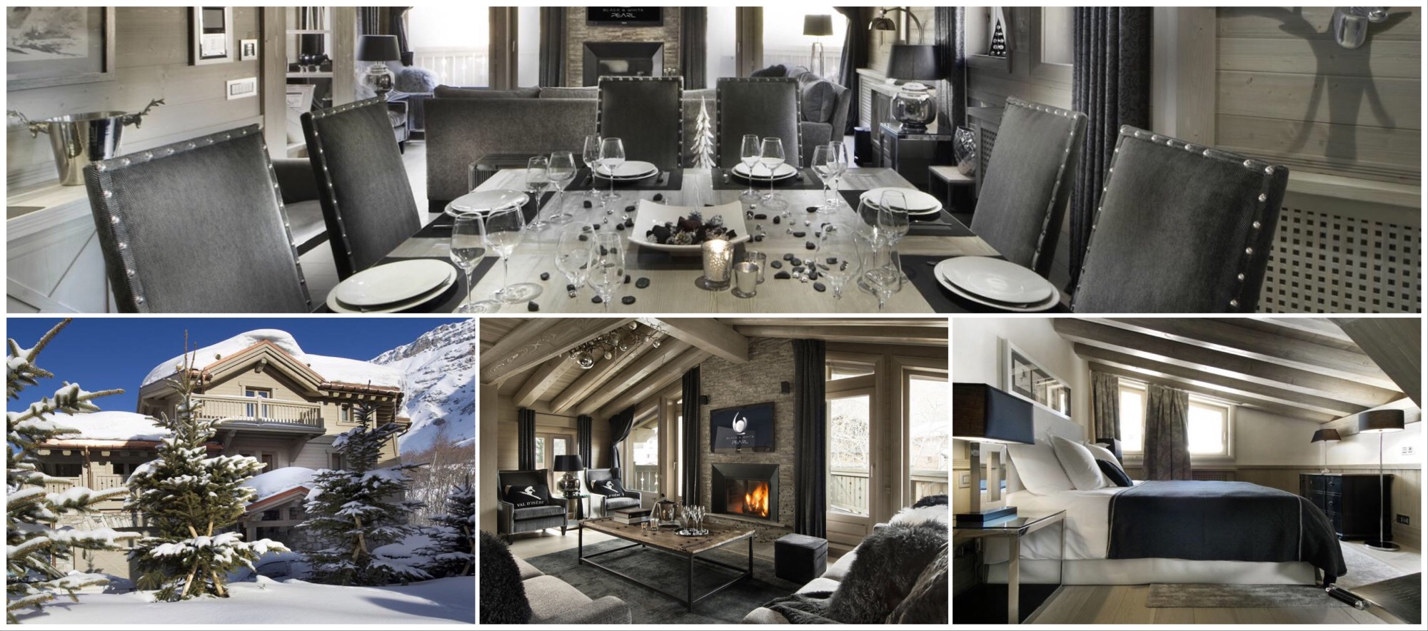 Ski chalet Bkack Pearl, Val d'Isère, Departement Savoie, dine, facade, fireplace in living room, bedroom