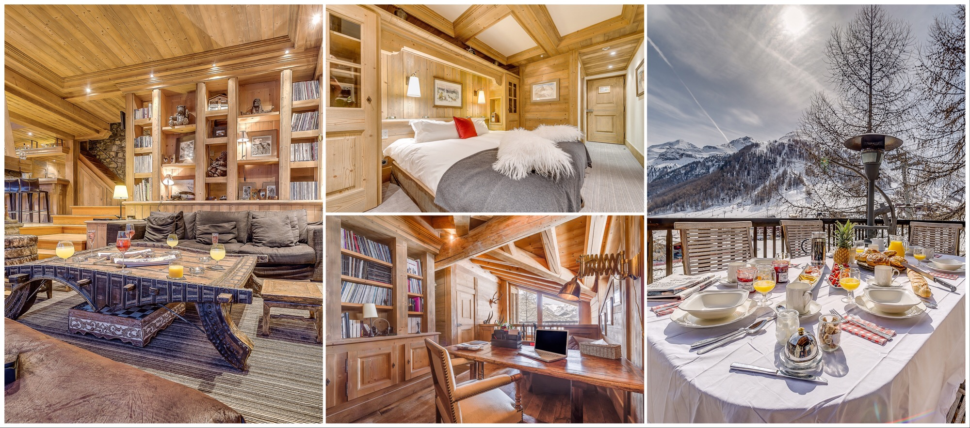 Skichalet Montana, Val d'Isère, Lounge, a Bedroom, Office and Terrace