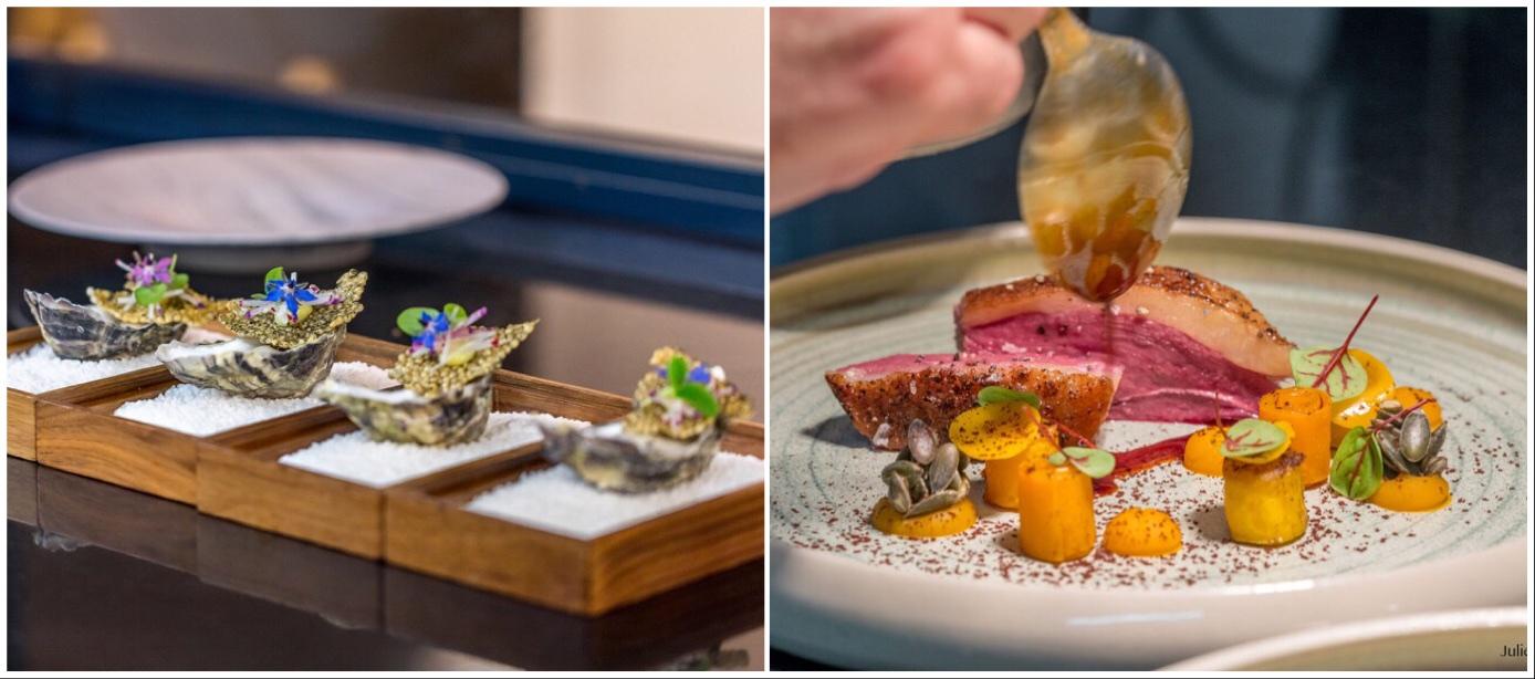 """Haute Cuisine à la Benoît Vidal at Michelin 2-star restaurant """"L'Atelier d'Edmond"""" in Val d'Isère"""