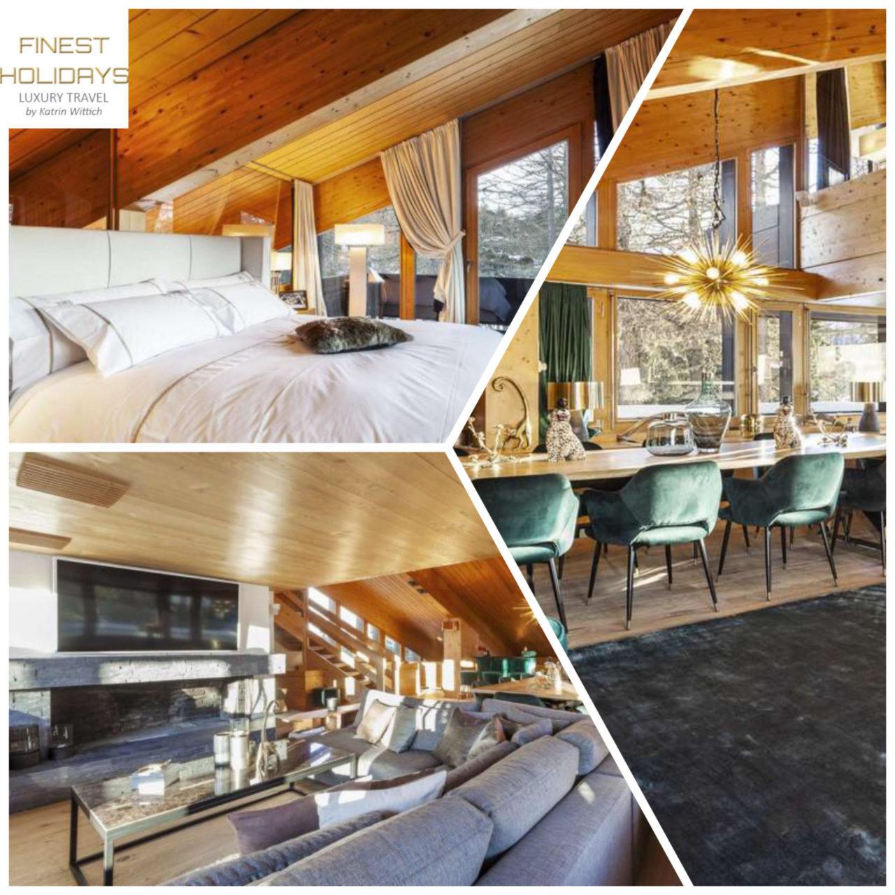www.finest-holidays.com Swiss Alps, St. Moritz, luxury ski chalet Leopardo, Switzerland