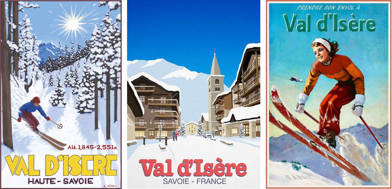 Poster advertising for ski resort Val d'Isere